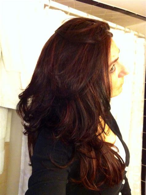 balayage hair que es dark red w balayage highlights me pinterest dark red