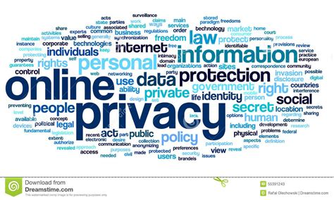 privacy policy the earth times online privacy in word tag cloud stock image image 55391243