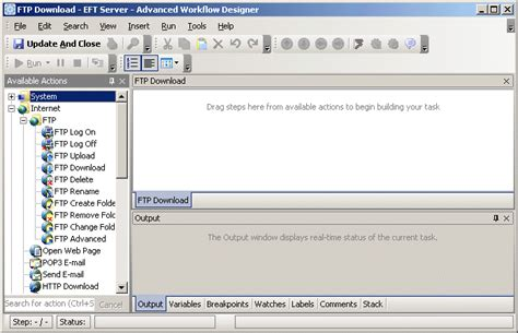 ftp workflow exle downloading files from a remote server