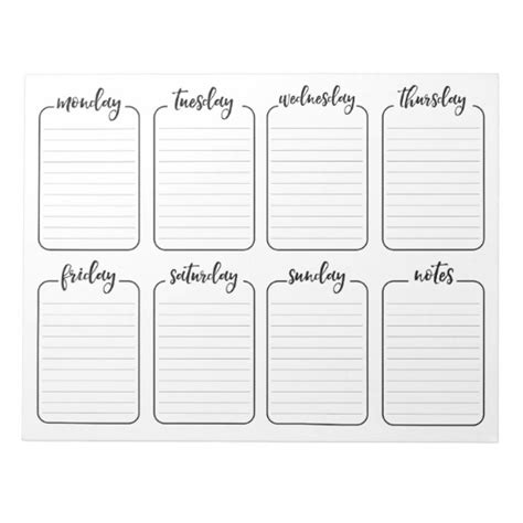 printable weekly planner notepad free printable weekly calendar template 2019 printable