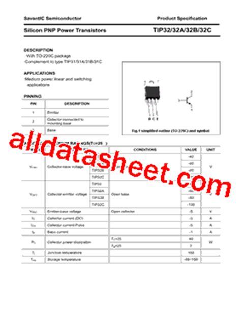 fungsi transistor tip 32 tip32 datasheet pdf savantic inc