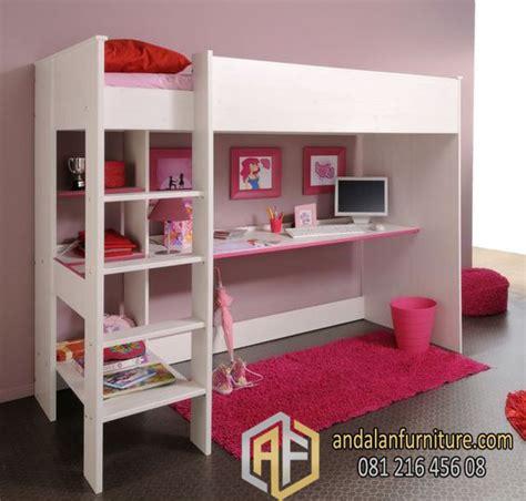 Tempat Tidur Kombinasi Meja Blajar tempat tidur tingkat anak kembar perempuan minimalis bunkbed furniture jepara klasik perabot