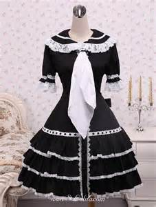 Cotton doll collar white lace trim and tie gothic lolita dress cheap