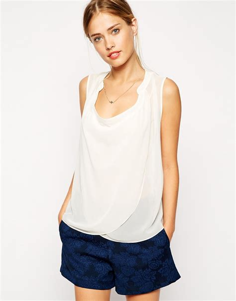 drape neck blouses asos sleeveless blouse with detail front and drape neck in