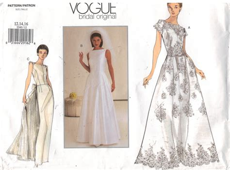 Wedding Gown Patterns by Vogue Pattern 2240 Bridal Wedding Gown Sizes 12 14 16