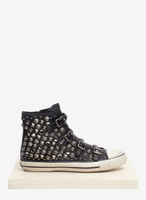 black leather sneakers ash victim studded leather sneakers in black lyst