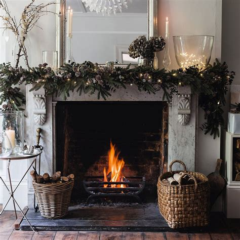 christmas fireplace garland ideas  pinterest