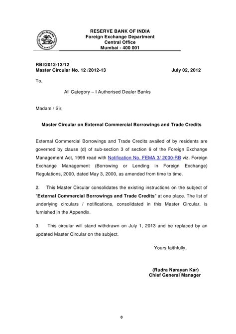 Sle Letter For Loan Of Equipment Master Circular On External Commercial Borrowings And Trade Credits