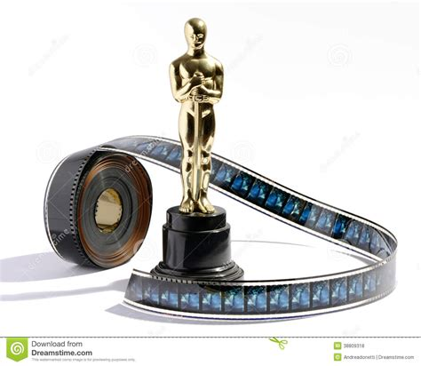 film 1 oscar gratis replica oscar statue with a roll of movie film stock photo