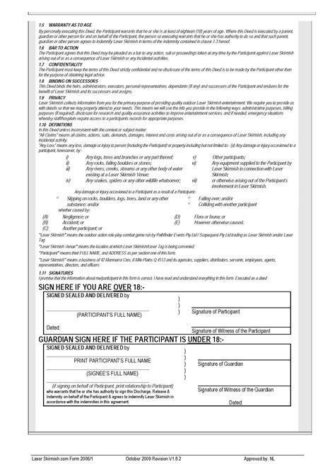 deed of gift template australia deed of release and indemnity electrical engineer