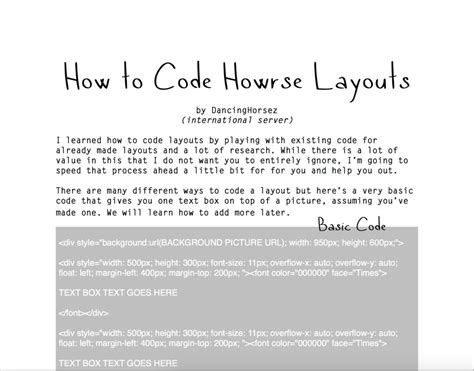 Howrse Layout Html Codes | how to code howrse layouts by gracefuleigh on deviantart