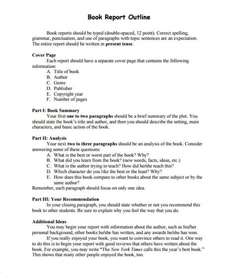 book response layout report outline template 10 free sle exle format