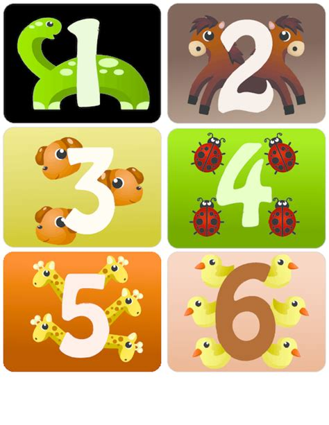 printable animal number cards counting with animals flashcards 1 6 kidspressmagazine com