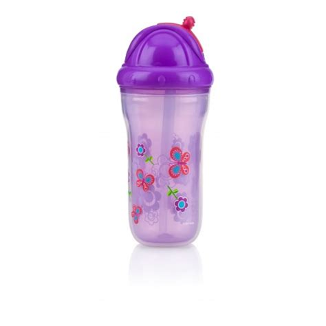 Sale Nuby Click It Insulated Stainless Steel Straw Bottle 280ml insulated flip it 9oz 270ml 12 18m butterfly