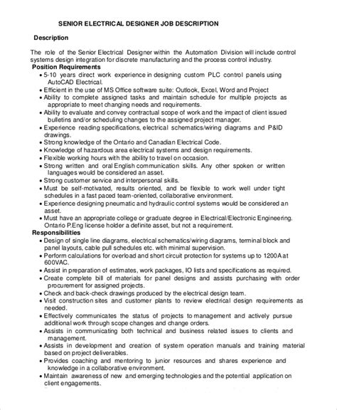 design engineer job responsibilities sle electrical engineer job description 10 exles