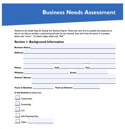9 Needs Assessment Sles Sle Templates Needs Assessment Template