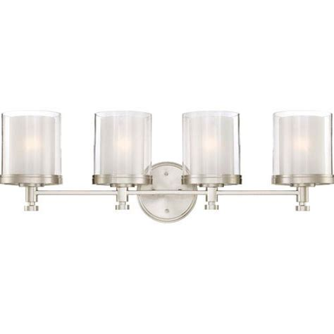 Four Light Bathroom Fixture Nuvo Lighting Decker Brushed Nickel Four Light Vanity Fixture W Clear Frosted Glass On Sale