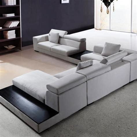 All Modern Sofas Forte Grey Microfiber Modern Sectional Sofa In San Jose