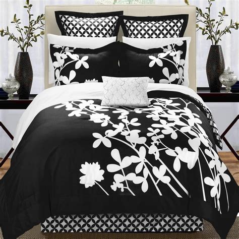 black and white bed in a bag iris black white king 11 piece comforter bed in a bag