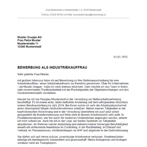 Bewerbung als Industriekauffrau / Industriekaufmann