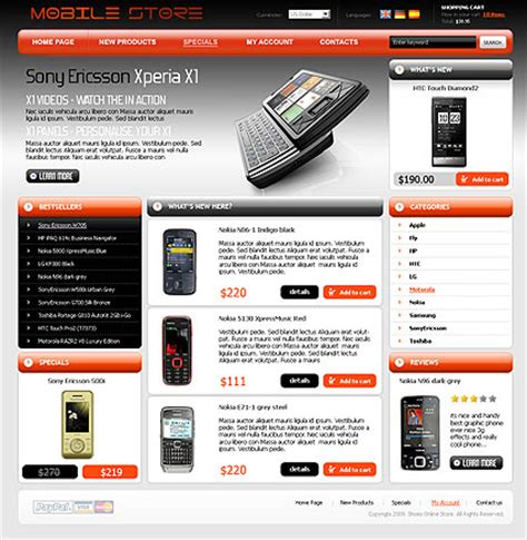 mobile store template mobile store oscommerce theme best website templates