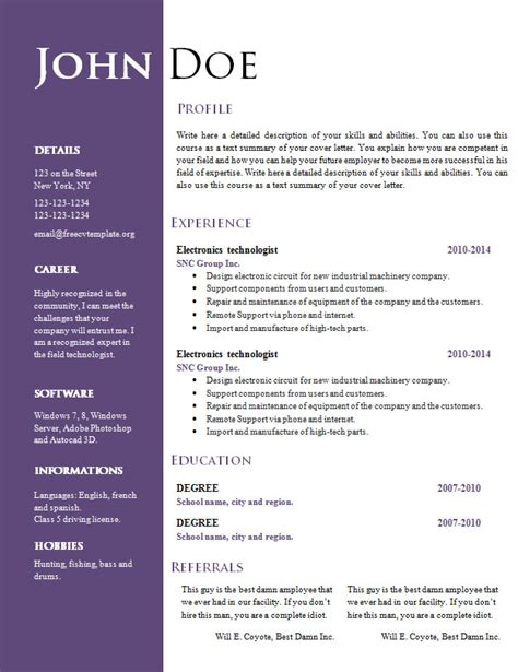resume vitae sle in word format free free creative resume cv template 547 to 553 free cv template dot org