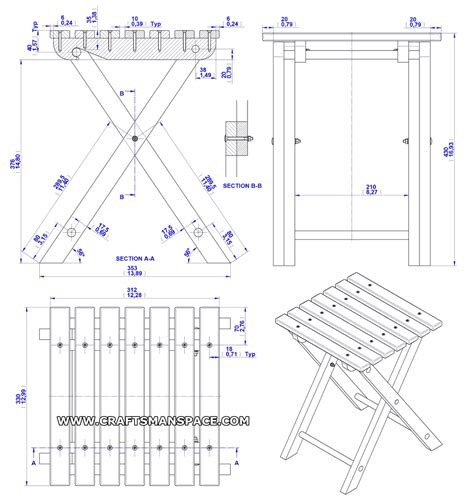 folding stool plan assembly  drawing home project