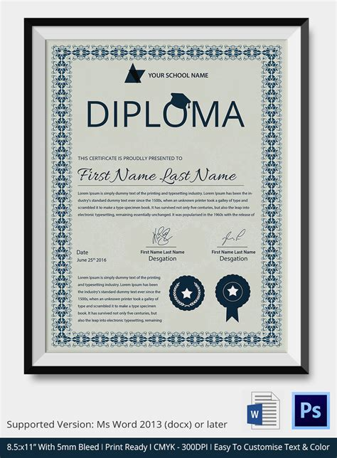 Word Certificate Template 31 Free Download Sles Exles Format Free Premium Templates Diploma Template Word