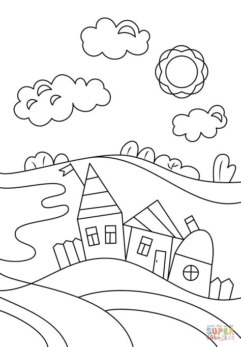 village scene coloring page free printable coloring pages