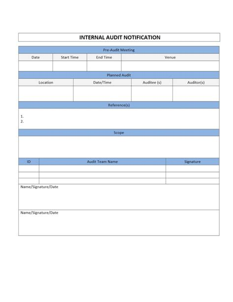 audit forms templates audit notification