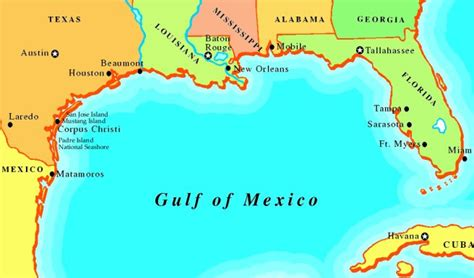 map of gulf of mexico map of florida gulf coast mexico