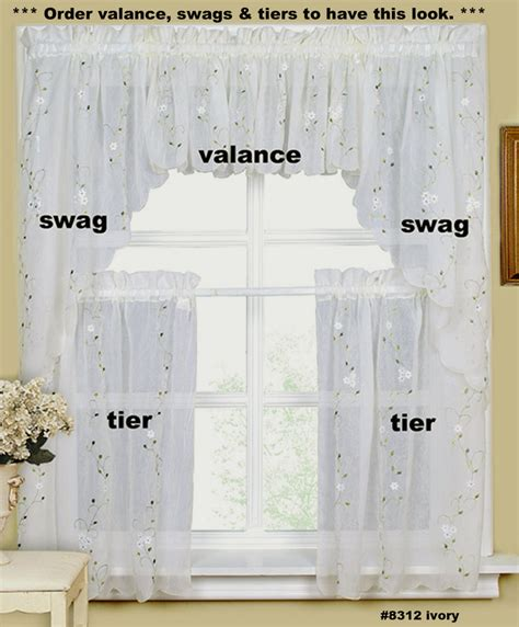 linens kitchen curtains embroidery kitchen curtain valance tiers or swags ivory creative linens ebay