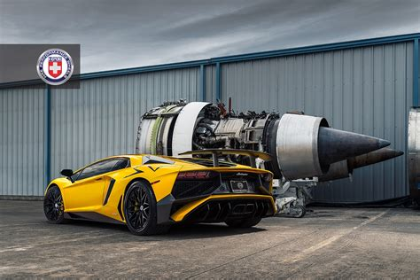 Lamborghini Aventador Sv Poses To Jet Engines