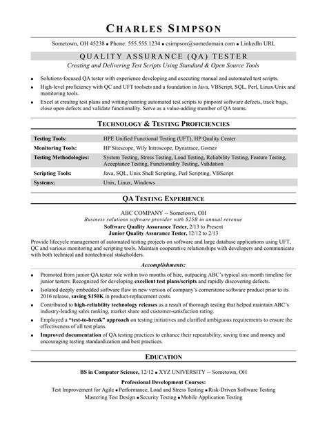 Qa Tester Resume by Sle Resume For A Midlevel Qa Software Tester