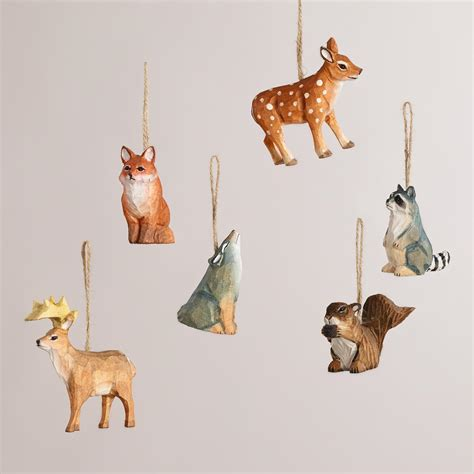 animal ornaments wooden woodland animals ornaments set of 6 world market