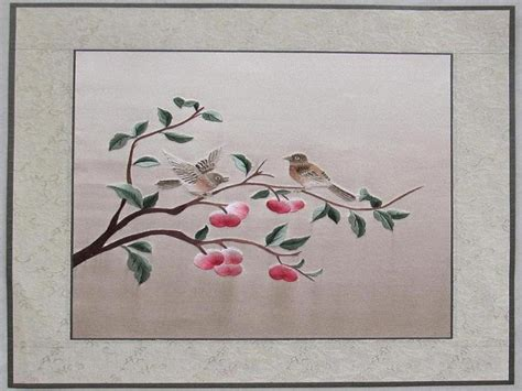 Silk Flower Arrangements For Dining Room Table by Asian Inspired Wall Art Silk Embroidery Wall Art Art Silk
