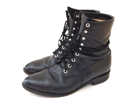 size 10.5 vintage 90s black combat boots by violetcrownvintage