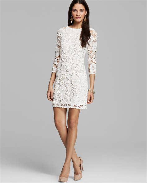 30580 Lace Dress White lyst velvet by graham spencer leslea crochet lace dress in white