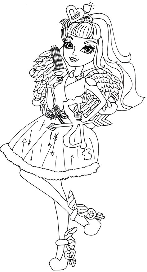 monster high coloring pages cupid c a cupid ever after high coloring page png 862 215 1600