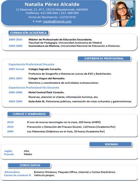Plantilla De Curriculum Vitae Para Docentes Plantilla Profesor N 186 2 Cvexpres