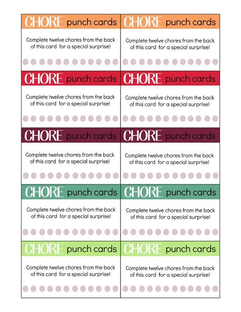 dollar punch card template printable chore punch cards for my craftily after
