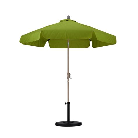 7 Patio Umbrella California Umbrella 7 1 2 Ft Fiberglass Push Tilt Patio Umbrella In Palm Spunpoly Alus756t Sp21