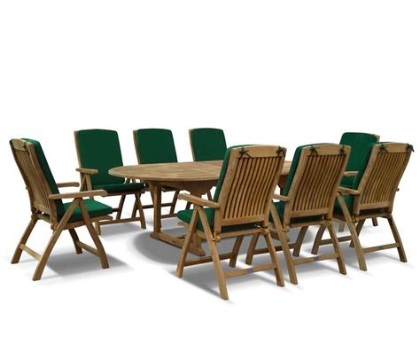 8 Seater Patio Table And Chairs Bali 8 Seater Extending Garden Table And Reclining Chairs Set
