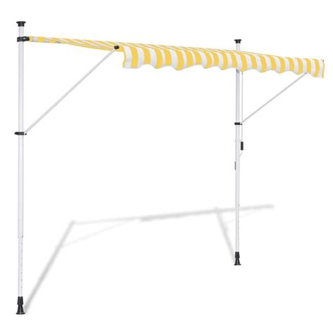 manual retractable awning vidaxl manual retractable awning yellow white 350 cm