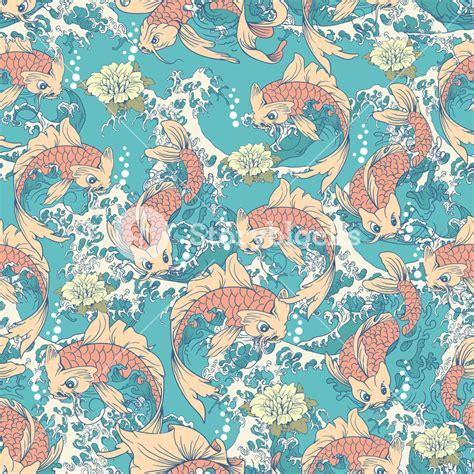 japanese koi pattern koi fish pattern with waves royalty free stock image