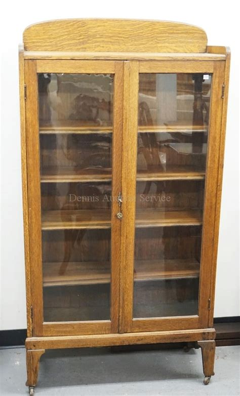 Oak Bookcase With Glass Doors Oak Bookcase With 2 Glass Doors 63 Inches High 32 1 2 Inch