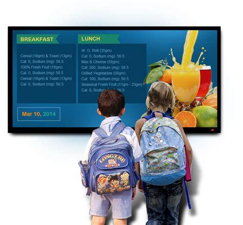digital school k 12 nutritional menu digital menu boards for schools