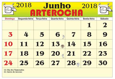 Calendario Junho De 2018 Arterocha Calend 193 Mes De Junho 2018