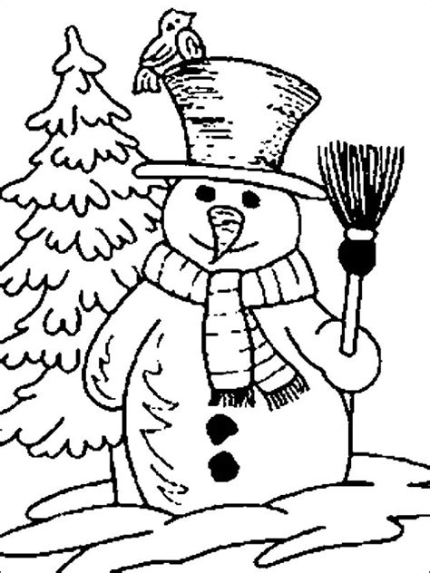 snowman scene coloring page mr snowman figure on the open winter season field coloring