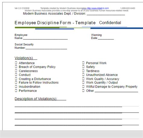 employee write up form word template employee write up form free word templates